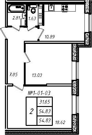2-к.кв, 54.83 м²