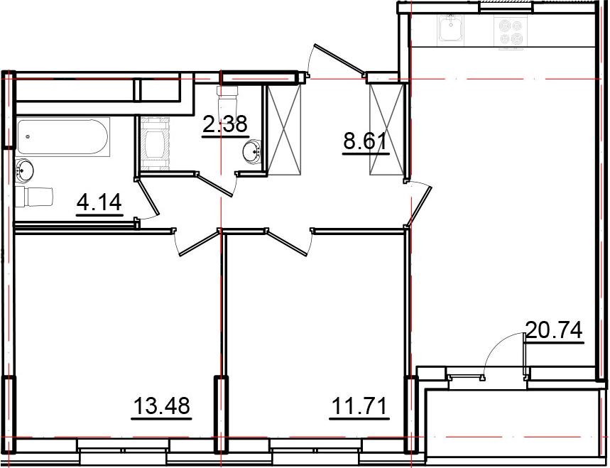 3Е-к.кв, 62.88 м², 10 этаж