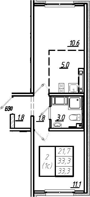 2Е-комнатная, 33.3 м²– 2