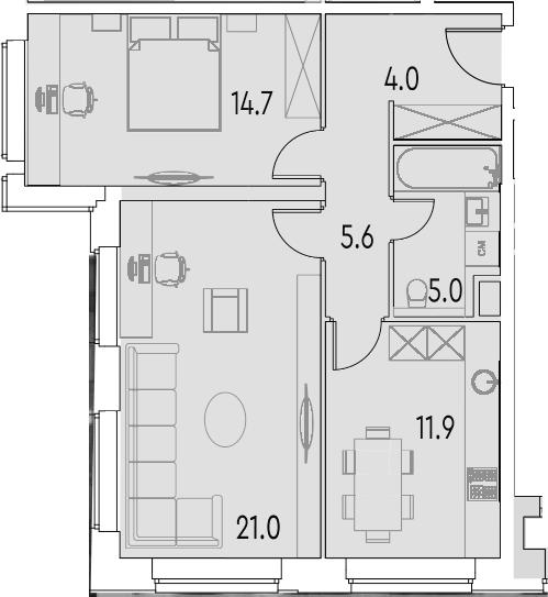 2-к.кв, 62.2 м²