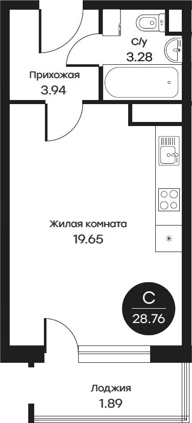 Студия, 28.76 м²– 2