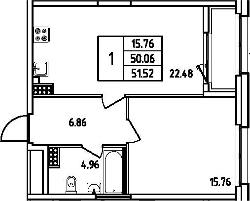 2Е-к.кв, 51.52 м², 11 этаж