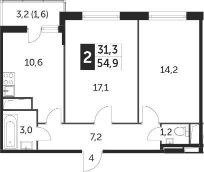 2-к.кв, 54.5 м²
