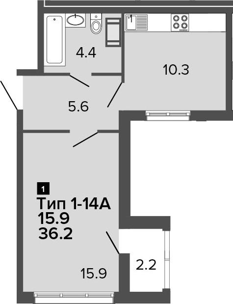 1-к.кв, 36.2 м², от 15 этажа