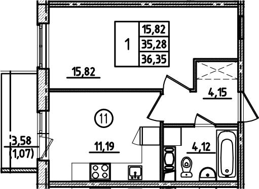 1-к.кв, 36.35 м², от 2 этажа