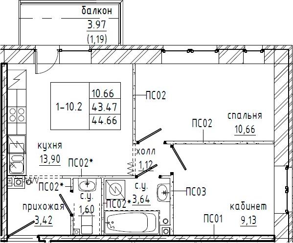2-к.кв, 47.44 м²