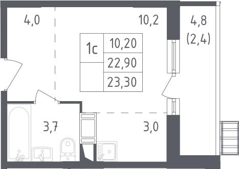 Студия, 23.3 м²