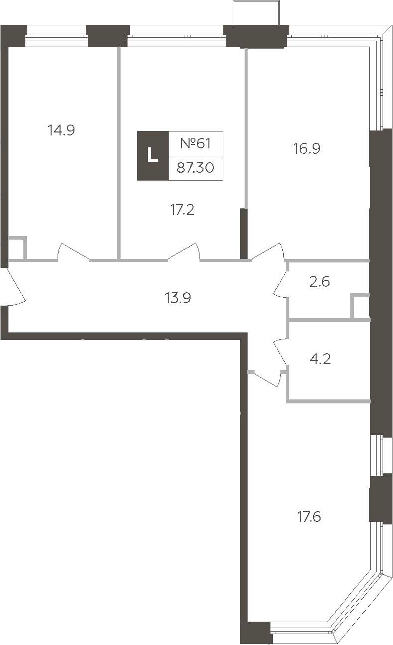 3-к.кв, 87.3 м²