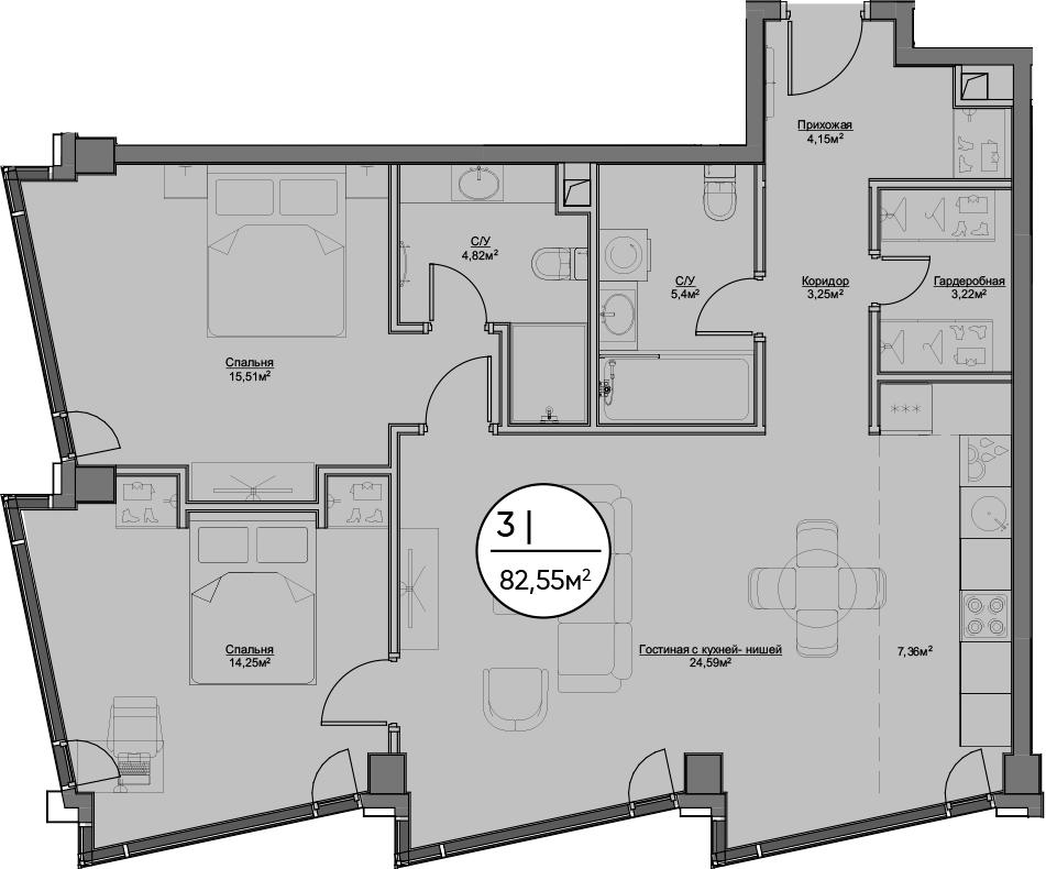 3Е-к.кв, 82.55 м², 38 этаж
