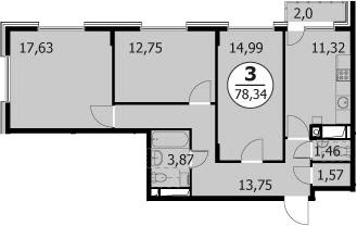 3-к.кв, 79.34 м²