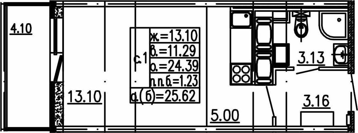 Студия, 24.39 м², 16 этаж