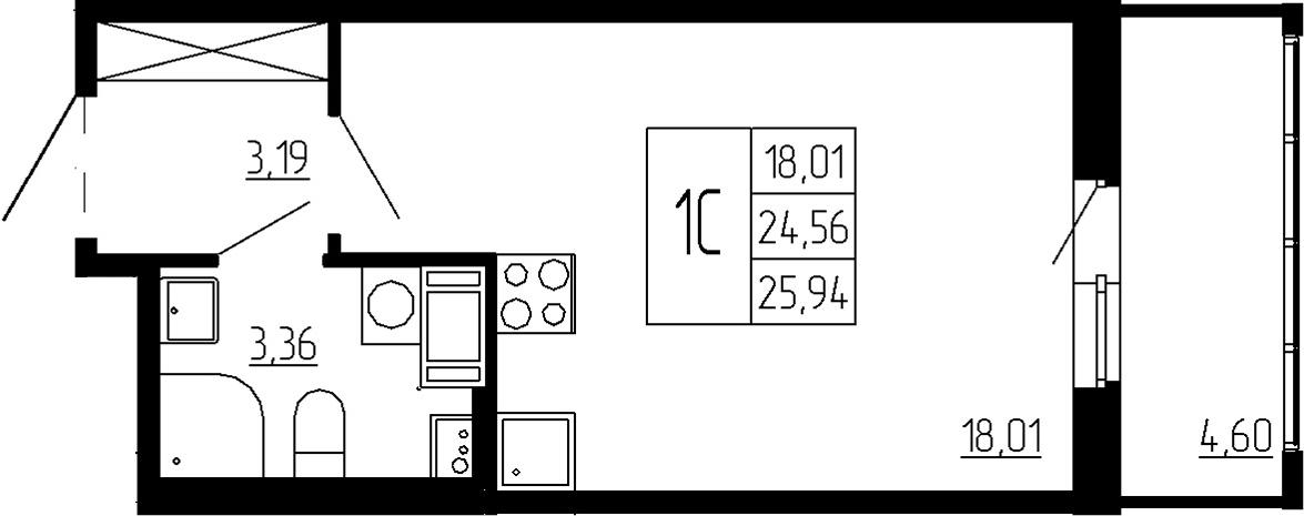 Студия, 24.56 м², 6 этаж