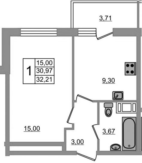 1-к.кв, 34.68 м²