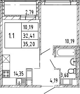 2Е-к.кв, 32.41 м², от 7 этажа