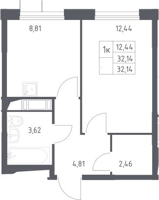 1-к.кв, 32.14 м²