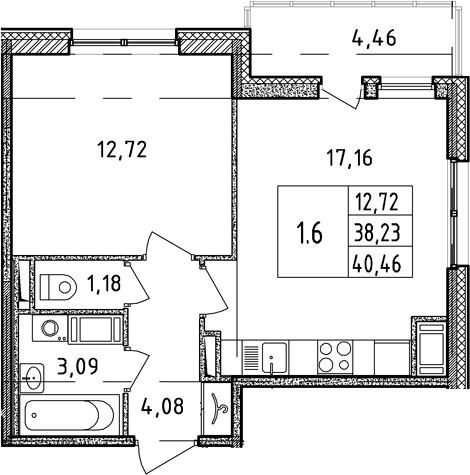 2Е-к.кв, 38.23 м², 7 этаж