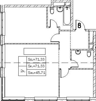 Свободная планировка, 71.33 м²– 2