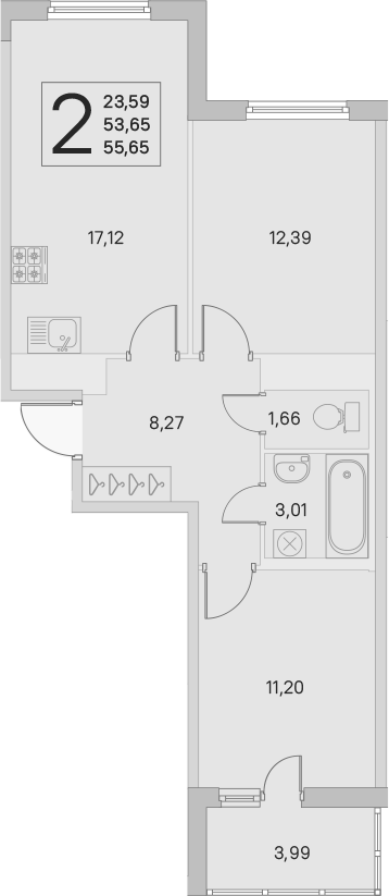 3Е-к.кв, 53.65 м², от 3 этажа