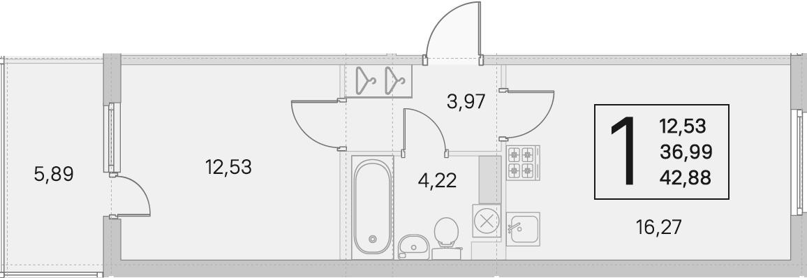 2Е-комнатная, 36.99 м²– 2