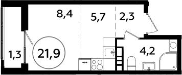 Студия, 21.9 м²
