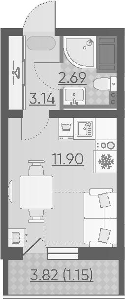 Студия, 21.56 м²