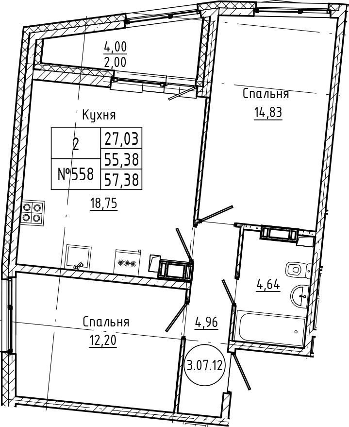 3Е-комнатная, 57.38 м²– 2