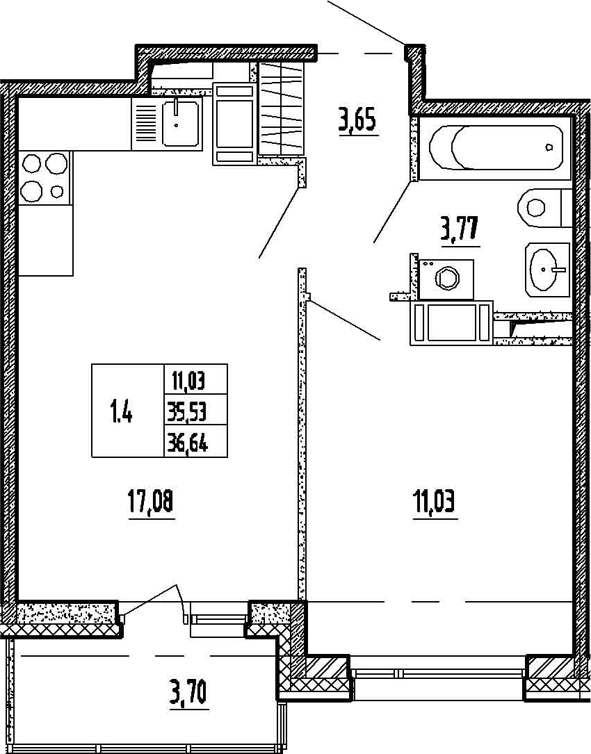 2-к.кв (евро), 39.23 м²