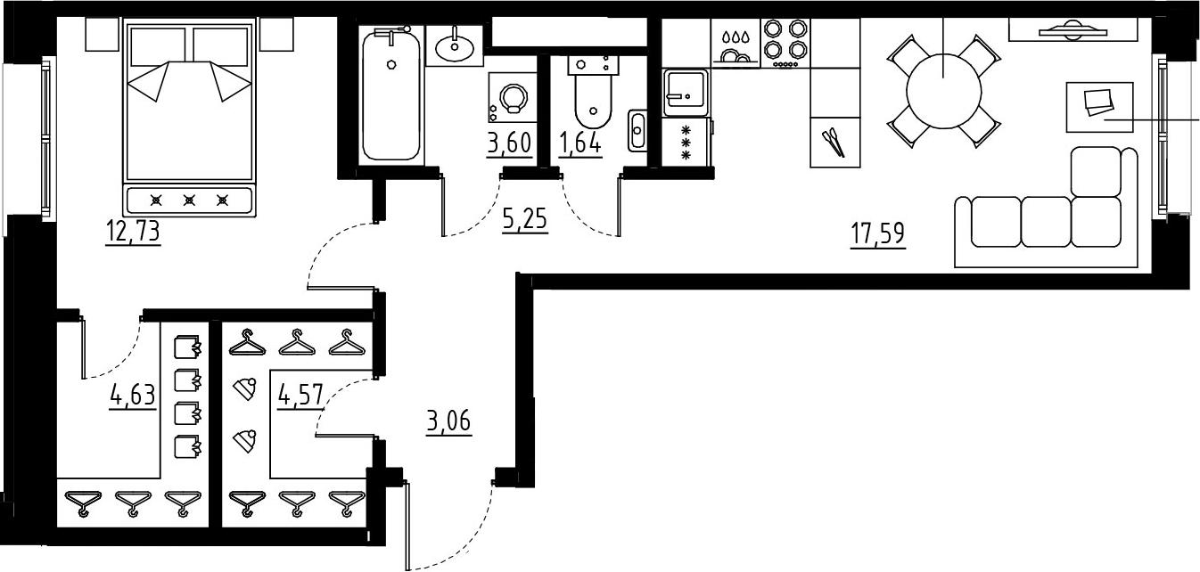 2Е-комнатная, 53.06 м²– 2