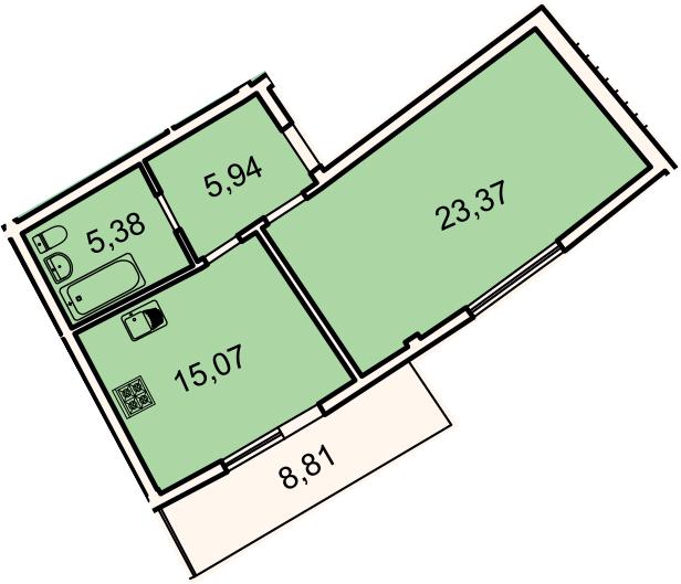 1-к.кв, 52.4 м², 2 этаж