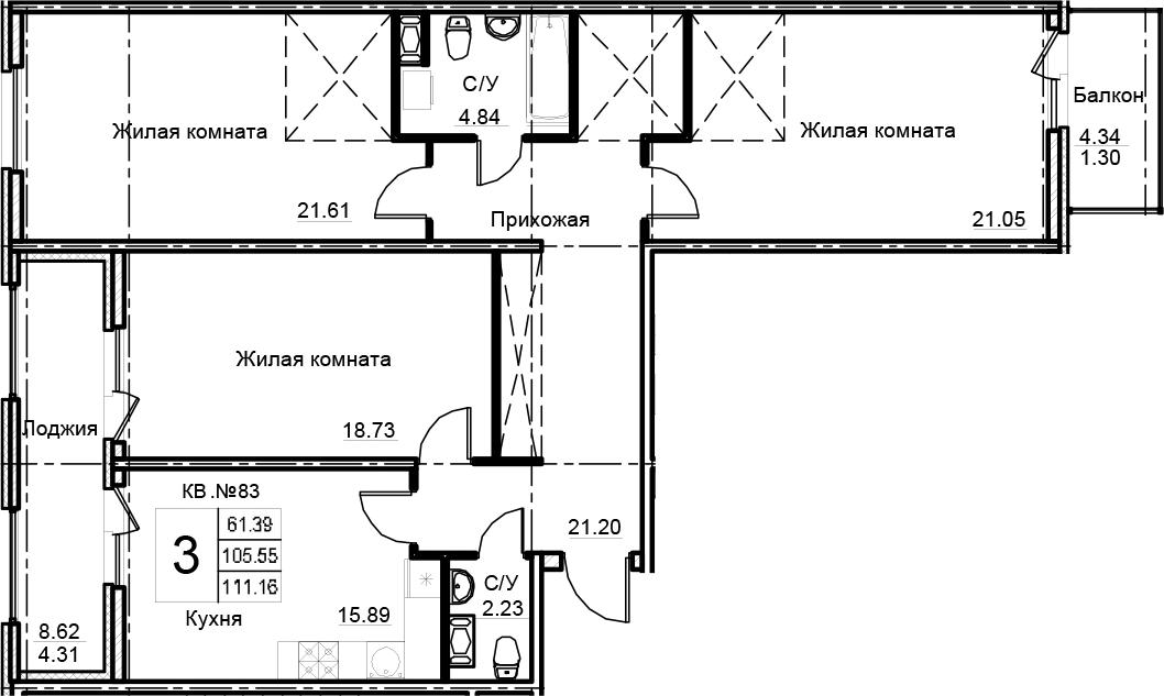 3-к.кв, 111.16 м²