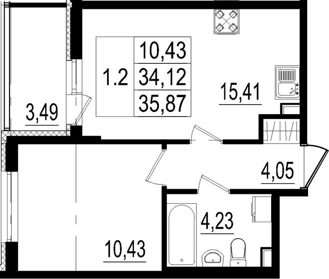 2Е-к.кв, 34.12 м²