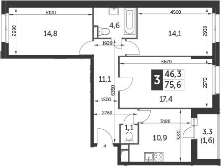 3-комнатная, 75.6 м²– 2