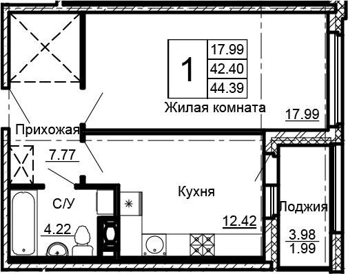 1-к.кв, 44.39 м²
