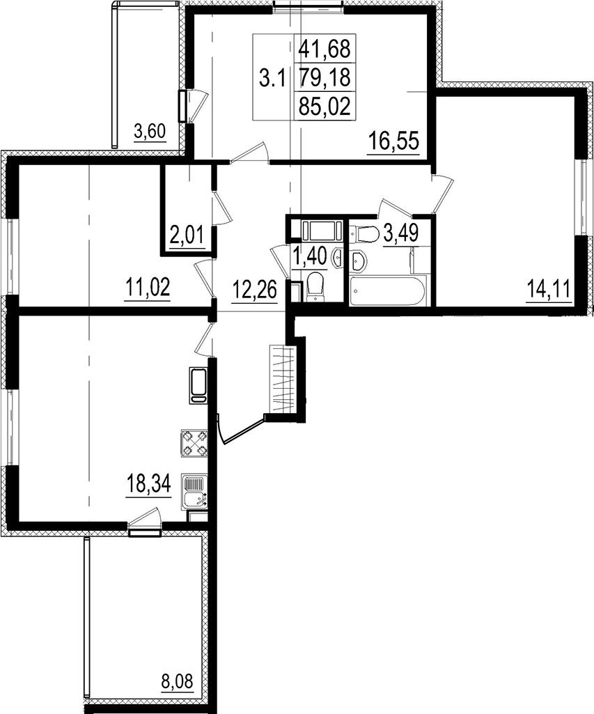 4Е-к.кв, 79.18 м²
