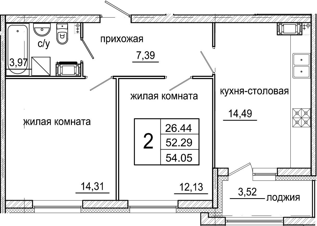 3-к.кв (евро), 55.81 м²