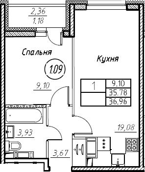 2Е-к.кв, 36.96 м², от 9 этажа