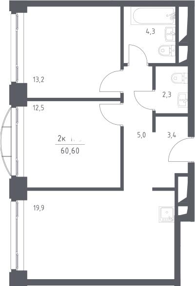 3Е-к.кв, 60.6 м², 16 этаж