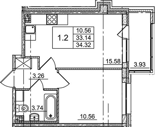 2Е-к.кв, 34.32 м²