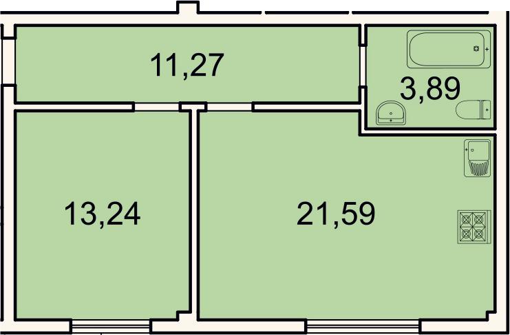 2Е-комнатная, 50 м²– 2