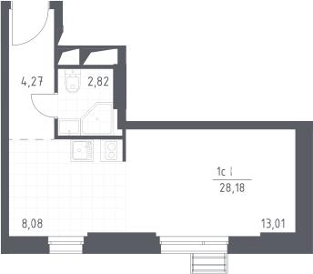 Студия, 28.18 м²– 2