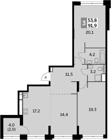 3Е-к.кв, 91.9 м², 20 этаж