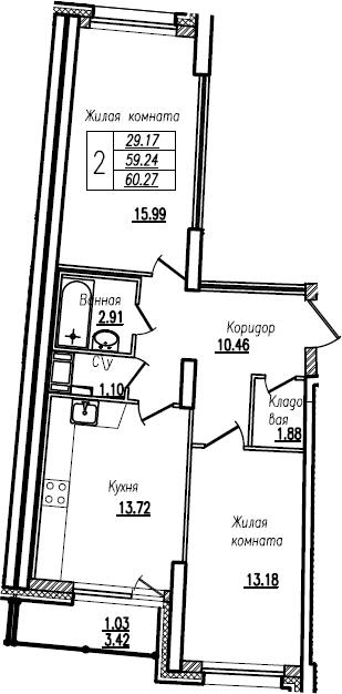 2-к.кв, 60.27 м²