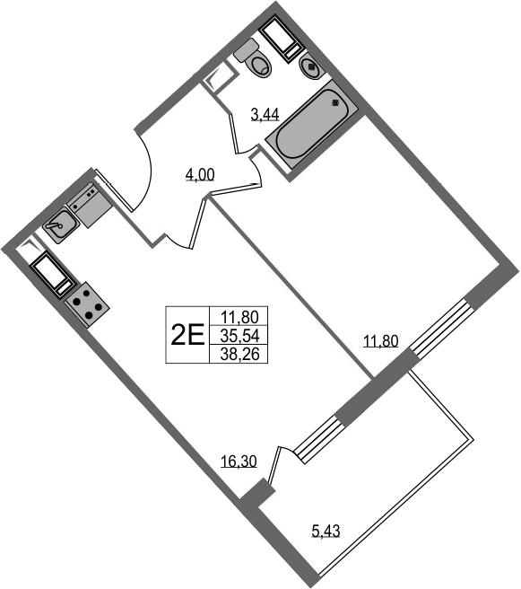 2-к.кв (евро), 40.97 м²