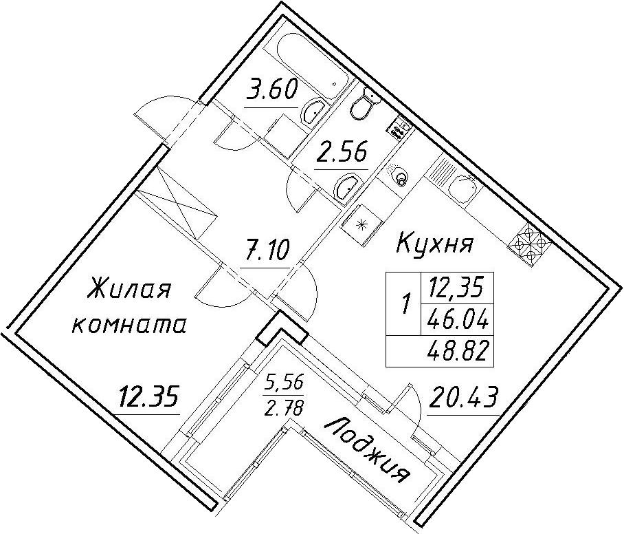 2-к.кв (евро), 51.6 м²