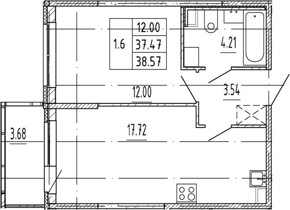 2Е-комнатная, 37.47 м²– 2