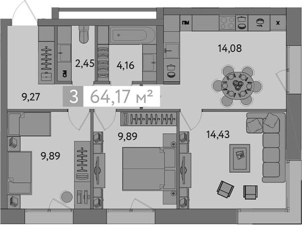 3-к.кв, 64.17 м²