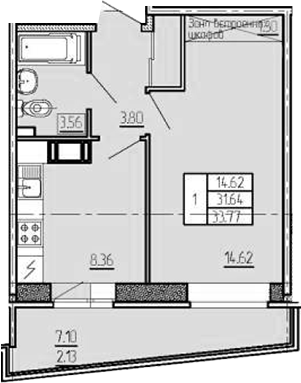 1-к.кв, 33.77 м², от 3 этажа