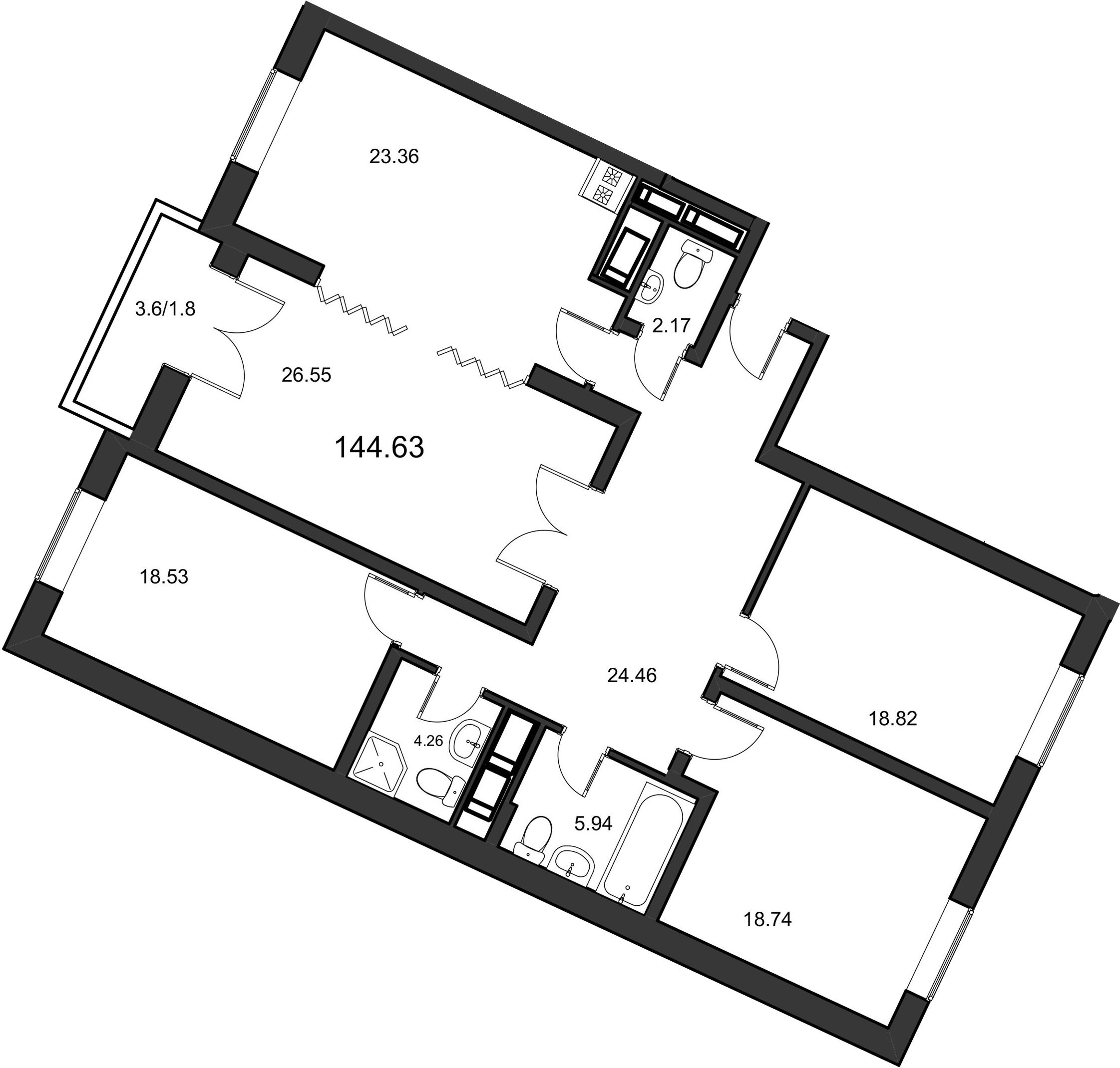 4-к.кв, 145.7 м²