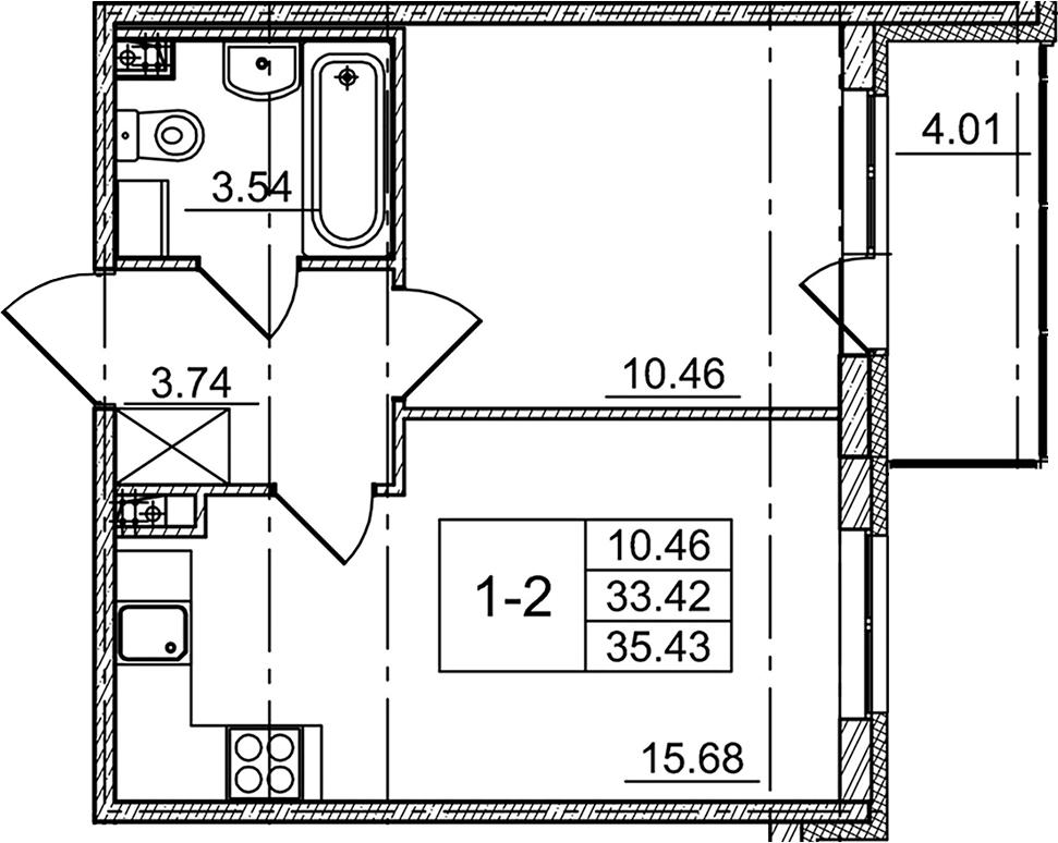 2-к.кв (евро), 37.43 м²
