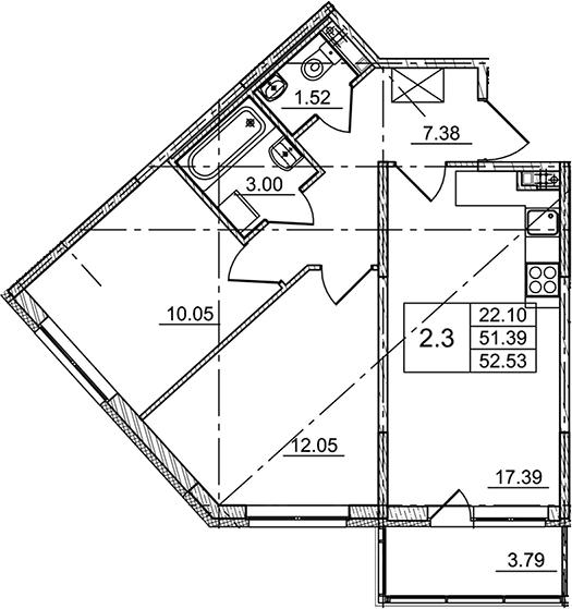 3Е-комнатная, 52.53 м²– 2